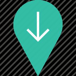arrow, down, google, locate, location, pin icon