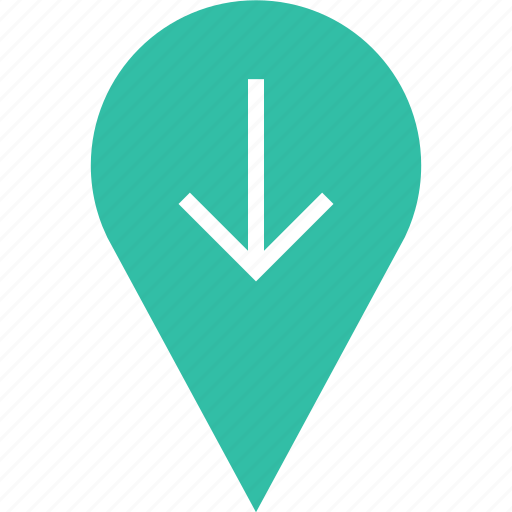arrow, down, google, locate, location, pin icon