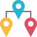 connect, google, locate, location, pins, three icon
