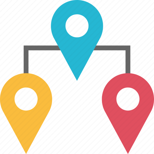 connect, google, locate, location, pins, three icon