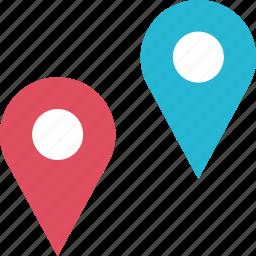 double, google, locate, location, pin, pins icon