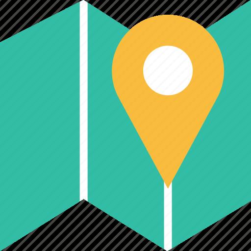 folded, google, locate, location, pin icon
