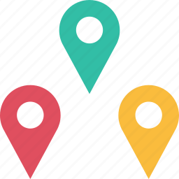 google, locate, location, pins, three icon