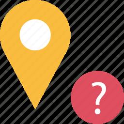 google, locate, location, pin, question icon