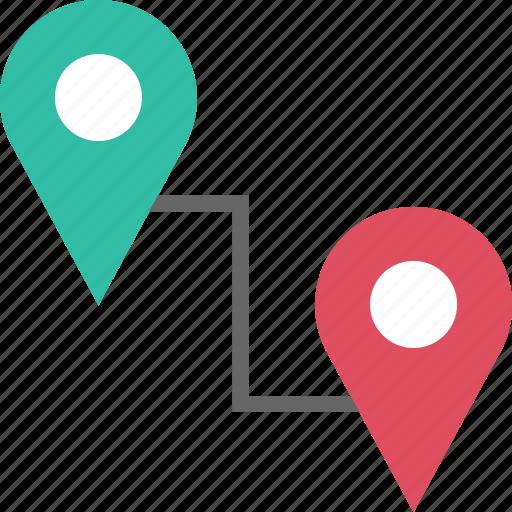 conenct, google, locate, location, pins, two icon