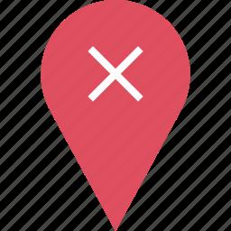 google, locate, location, x icon