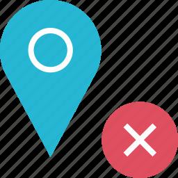 delete, google, locate, location, pin, x icon
