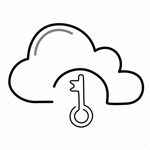 cloud, key, lock, password, security icon