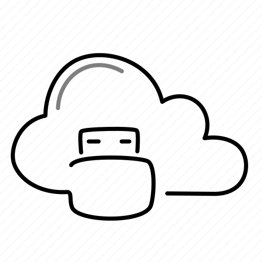 cloud, data, storage, usb icon