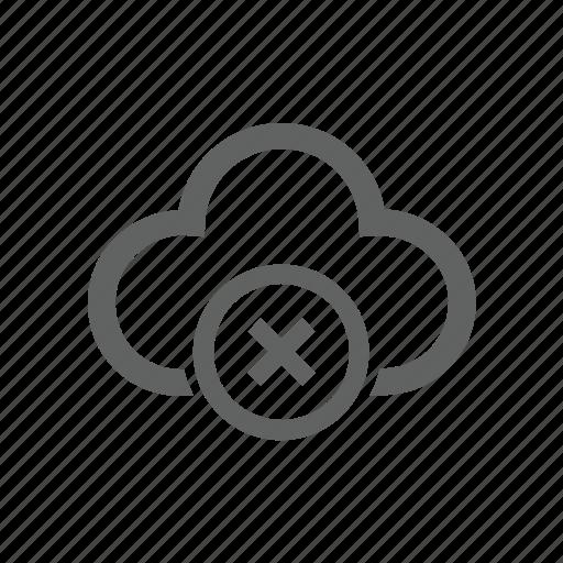 cloud, cross, delete, error, remove icon