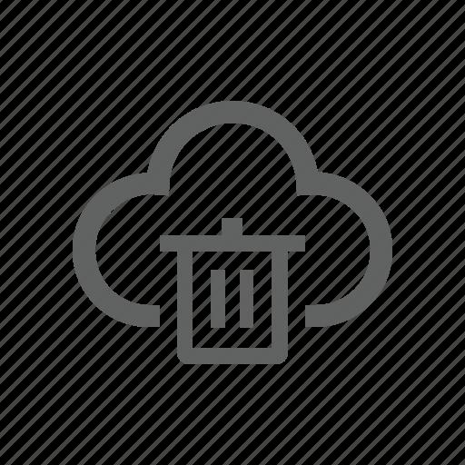 cloud, delete, remove, trash, trash bin icon