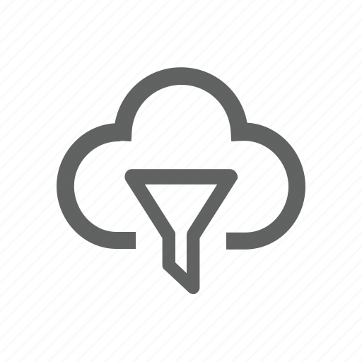 cloud, data, filter, funnel icon
