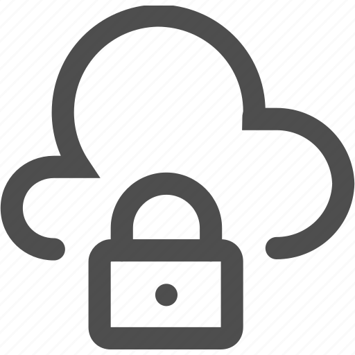 cloud, interface, internet, lock, protection, security, verified icon