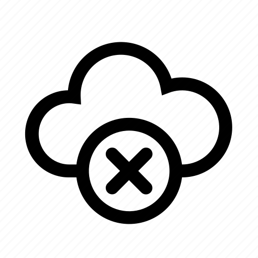 cloud, computer, delete, fail, failure, remove icon