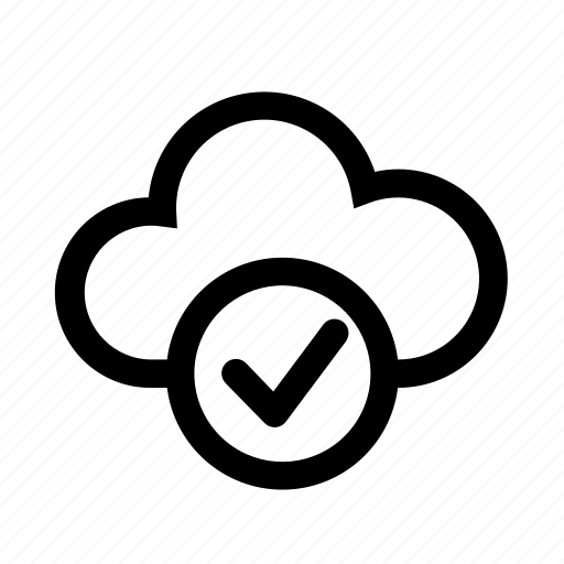 checked, cloud, computer, ok, up-to-date icon
