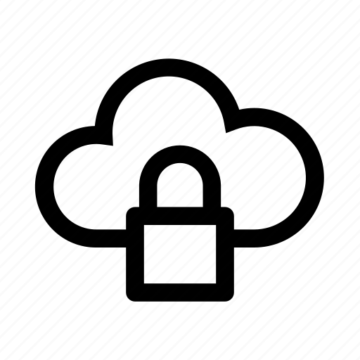 cloud, computer, locked, password, protected, secure, security icon