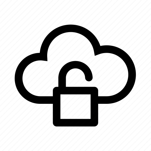 cloud, computer, open, password, unlocked icon