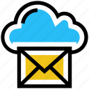 cloud, email, envelope, letter, mail, message, storage