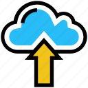 arrow, cloud, data, storage, upload, weather icon