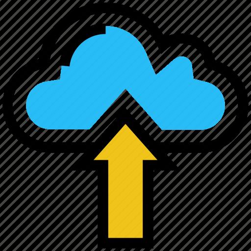 arrow, cloud, data, storage, upload, weather icon