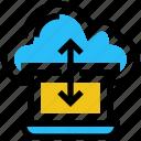 cloud, data, internet, laptop, pc, sharing, storage icon
