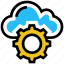 cloud, cogwheel, gear, hosting, settings, setup, storage icon