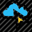 click, cloud, cursor, mouse arrow, server, storage, track icon