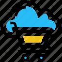 cloud cart, cloud trolley, database, loud, shopping cart, shopping trolley, storage