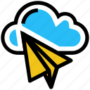 cloud, creativity, mail, paper plane, plane, send, storage icon