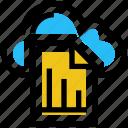 cloud, document, file, graph, paper, storage, transaction