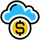 cloud, coin, currency, dollar, money, profit, storage