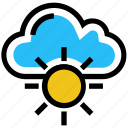 autumn, cloud, cloudy, storage, sun, sunny, weather icon