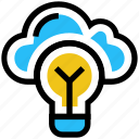 bulb, cloud, cloud solution, idea, light, server, storage icon