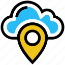 cloud, location, marker, navigation, pin, pointer, storage icon