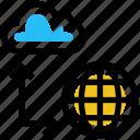 cloud, data, network, server, sharing, storage, world icon