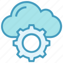 cloud, cogwheel, gear, hosting, settings, setup, storage icon