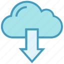 arrow, cloud, data, download, storage, weather icon