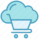 cloud, cloud cart, cloud trolley, database, shopping cart, shopping trolley, storage icon