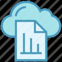 cloud, document, file, graph, paper, storage, transaction icon