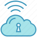 cloud, lock, protection, signals, storage, wifi, wireless secure