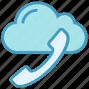 call, cloud, communication, helpline, phone, receiver, storage icon