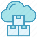 boxes, cloud, cubes, data, products, storage icon