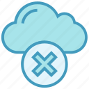 cloud, cross, data, reject, storage, wrong icon