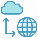 cloud, data, network, server, sharing, storage, world icon