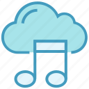 cloud, entertainment, media, music note, online multimedia, sound note, storage icon