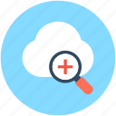 cloud, cloud computing, cloud search, magnifier, zoom in icon