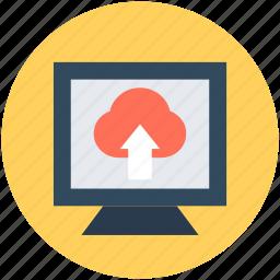 cloud uploading, data transfer, file upload, monitor, uploading icon