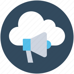 cloud computing, loudspeaker, megaphone, online advertising, seo icon