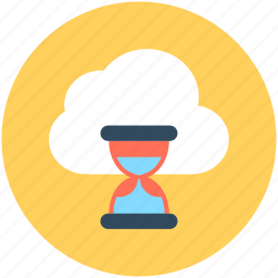 cloud hourglass, cloud loading, cloud refresh, hourglass, updating cloud icon