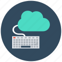 cloud computing, cloud data, cloud monitoring, data center, keyboard icon